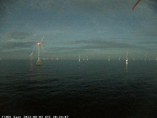 Looking south to the offshore wind park Alpha Ventus